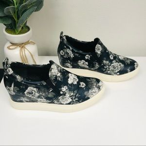 Wanted Navy Blue Floral Wedge Shoes